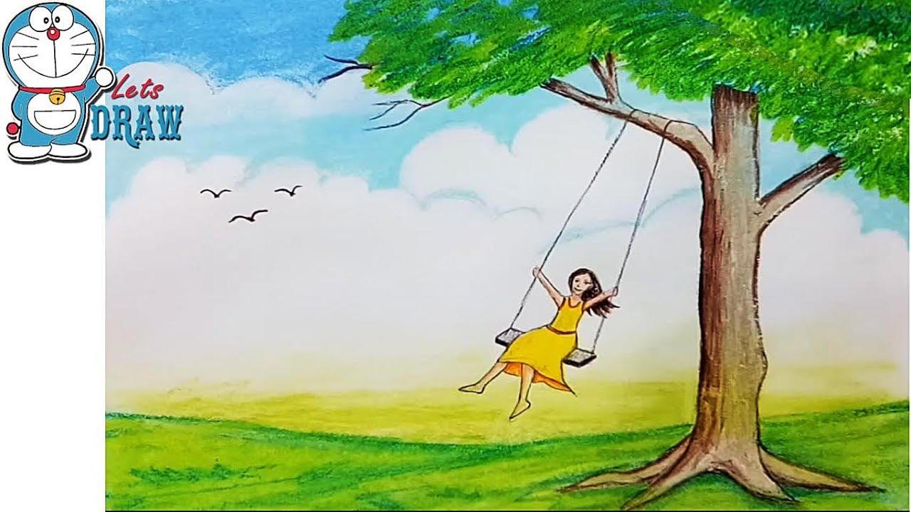 Как нарисовать девочку,сидящую на качелях, которую качает ...